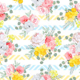 Summer sunny floral seamless vector pattern. Peony, rose, narcis Stock Image