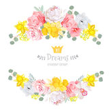 Summer sunny floral vector design frame.  Stock Photo