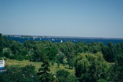 Summer sunny landscape from the air. Park and river view royalty free stock photos