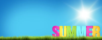 Summer sunny landscape background 3D render Stock Photo