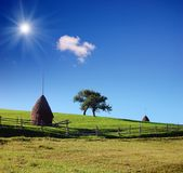 Country Scene with haystacks Stock Image