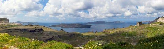 Summer sunny morning on the island of Santorini, Greece. stock image