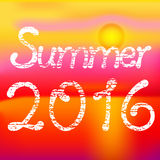 Summer 2016, sunny red summer. Text on summer background Stock Photos