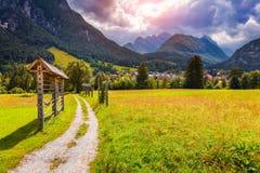Summer sunny scene of Triglav mountain range Royalty Free Stock Images
