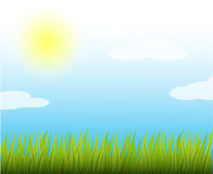 Summer sunny vector illustration. Blue sky and light clouds. Natural background with bright sun and green grass. . Summer sunny vector stock illustration