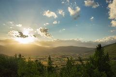 Summer sunrise. Over the Green Valley Royalty Free Stock Photos
