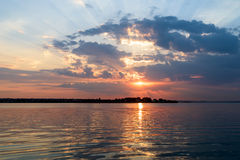 Summer Sunrise With Beautiful Cloudy Sky Over Lake Water Royalty Free Stock Image