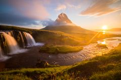 Summer sunrise on famous Kirkjufellsfoss Waterfall royalty free stock image