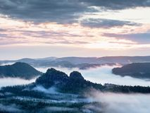 Summer sunrise forest after heavy rain. Beautiful mountain within inversion. Royalty Free Stock Photography