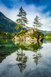 Summer sunrise at Hintersee lake in Alps Stock Image