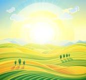Summer sunrise landscape. Summer sunrise rural landscape with rolling hills and fields. Landscape background Stock Photo