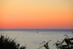 Summer sunrise at Mediterranean sea. Maiorca, Spain. Flat seaside Stock Image