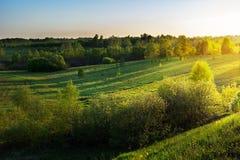 Summer sunrise over beautiful hills landscape stock image