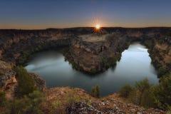 Sunrise over Duraton River in Segovia, Spain stock photo