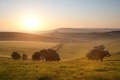 Summer sunrise over English countryside. Beautiful sunrise over English countryside landscape in Summer Royalty Free Stock Photos