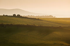Summer sunrise over English countryside landscape. Beautiful sunrise over English countryside landscape in Summer Royalty Free Stock Photography