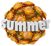Summer Suns 3D Word Season Change. Suumer word in 3d letters on a ball of orange and yellow suns to illustrate the change of seasons to warmer and hot months Royalty Free Stock Image