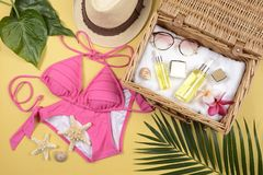 Summer and sunscreen, Beauty cosmetics product for skin care and women accessories on the beachSun protection product concept Stock Photos