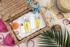 Summer and sunscreen, Beauty cosmetics product for skin care and women accessories on the beachSun protection product concept Stock Images