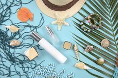 Summer and sunscreen, Beauty cosmetics product for skin care and women accessories on the beachSun protection product concept Royalty Free Stock Images