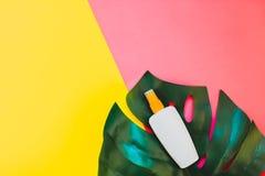 Summer sunscreen blank bottle mockup royalty free stock image