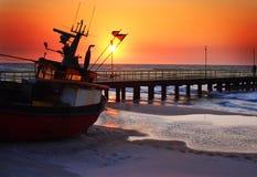 Summer Sunset. Beautiful sunset over Baltic Sea-Poland Stock Photo