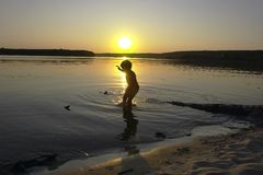 Summer sunset. Boy on the evening beach Stock Photo