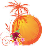 Summer sunset. Round banner with palm trees and tropical flowers Stock Image