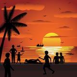 Summer sunset. Illustration of tropical sunset during summer vacation season Stock Photography