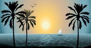 Summer Sunset. Tropical sunset on the sea coast Stock Image