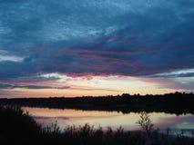 Sunset over the river Nemunas royalty free stock image