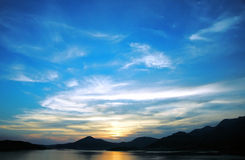 Summer sunset. And mountain in my country Montenegro Stock Photo