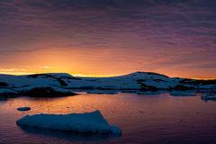 Summer  sunset in Antarctica Royalty Free Stock Photography