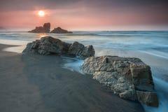 Summer sunset on Asturian beach royalty free stock images