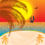 Summer sunset background. With ship Royalty Free Stock Image