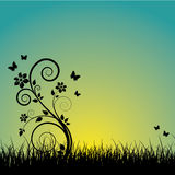 Summer sunset background. With butterflies royalty free illustration