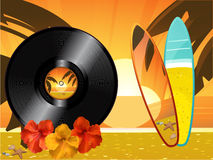 Summer sunset background with vinyl record surfing board Royalty Free Stock Image