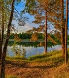 Summer sunset on the Bank of the quarry. The fading light of the Royalty Free Stock Photo