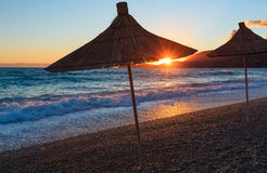 Summer sunset beach Albania. Stock Image
