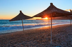 Summer sunset beach Albania. Royalty Free Stock Photo