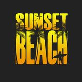 Summer Sunset beach typography, tee shirt graphic, slogan, printed design. t-shirt printing. And embroidery apparel royalty free illustration