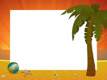 Summer sunset border with palm tree Royalty Free Stock Images