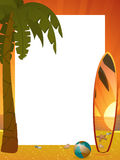 Summer sunset border with palm tree and surfboard Stock Image