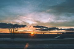 Summer Sunset and road royalty free stock photos