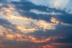 Summer Sunset With Cloudy Sky Royalty Free Stock Photography