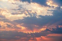 Summer Sunset With Cloudy Sky Stock Photos
