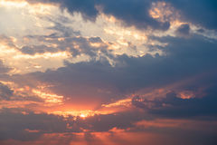 Summer Sunset With Cloudy Sky Stock Photography