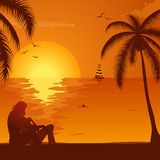 Summer Sunset with Couple Stock Image