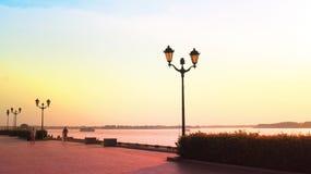 Summer sunset on the embankment along the river Volga, Samara Stock Image