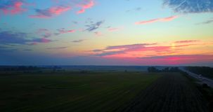 Summer Sunset Evening Above road Countryside Rural Wheat Field Landscape. drone flight stock footage